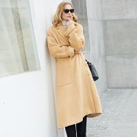 【领券满1000减700】Amii极简欧美风高端Oversize羊毛毛呢外套女2018冬新加厚长款大衣