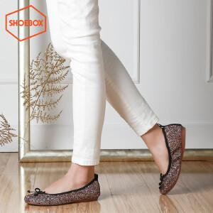达芙妮旗下SHOEBOX/鞋柜甜美超软单鞋 低跟平底蝴蝶结浅口女单鞋