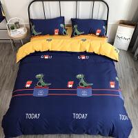 卡通小恐龙床单4四件套棉床笠被子床上三件套棉儿童男孩床品