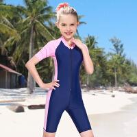 新款儿童泳衣防晒儿童游泳衣女童泳衣连体学生运动泳衣女大童泳衣 深蓝色 粉边