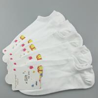5双装袜子 纯棉女袜船袜运动黑白色纯色夏季簿款短筒短袜防臭浅口 女士浅口白色 5双装 均码