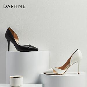 Daphne/达芙妮2018春季新款气质婚鞋细跟浅口高跟鞋尖头鞋单鞋