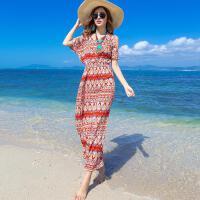 夏天波西米亚风度假裙短袖显瘦碎花长款长裙时尚海边度假沙滩裙