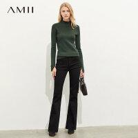 【到手价:122元】Amii极简时髦潮流休闲牛仔裤女2019秋季新款修身显瘦微喇叭裤子