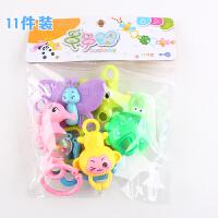 婴幼儿玩具 婴儿油磨牙棒牙胶摇铃玩具宝宝儿童生日礼物 2603牙胶摇铃(5个动物)
