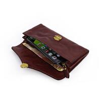 日韩原创植鞣革手机包女士复古长款钱包头层牛皮卡包护照包手拿包