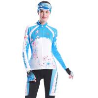 春夏秋季 长袖骑行服上衣+骑行裤 骑行服套装 女 高弹 舒适 自行车骑行服装