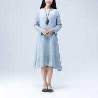 秋季新款连衣裙纯色有印花长袖中长款优雅飘逸气质甜美