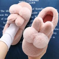 棉拖鞋女秋冬季家居家包跟室内家用产后情侣毛绒月子可爱儿童棉鞋