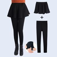 秋冬打底裤保暖大码女士加绒加厚踩脚裙子+裤子大摆裙裤两件套装