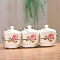 普润 简约田园陶瓷调味罐调味罐三件套 带不锈钢架 花色随机