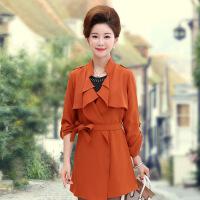 时尚妈妈装秋装韩版风衣中老年大码女装秋外套中年中长款上衣女
