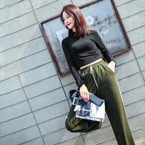 【618大促 每满100减50】长袖t恤女装2018春新款半高领韩版学生黑色打底小衫上衣复古