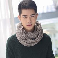 韩版秋冬季保暖毛线套头男士围脖学生针织冬天加厚女脖套简约麻花