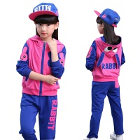 新款韩版童装女童儿童秋季中大童卫衣秋冬装运动兔子三件套装