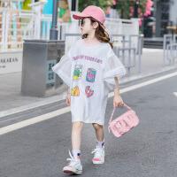 连衣裙夏季中大童款儿童短袖上衣潮