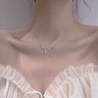 潮纯银锁骨链女爱心跳项链简约气质轻奢小众设计闺蜜*