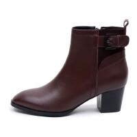 百搭时尚真皮女靴年秋季头层牛皮皮带扣短靴粗跟中跟女鞋