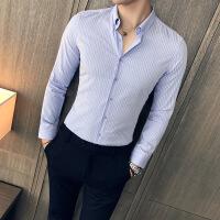2017新款商务休闲条纹衬衣男装修身精品长袖衬衫绅士风英伦寸衫男