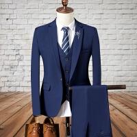 2017秋季男士商务休闲西服套装韩版修身纯色西装西裤马甲三件套