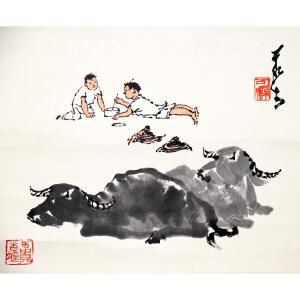H李可染(款)  斗蟋蟀   28*33