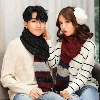 情侣围巾可爱冬天学生针织年轻人围巾女冬季百搭韩版毛线男款简约