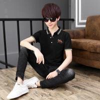2018韩版学生12-17岁男孩短袖T恤中大童夏季衬衫领polo衫潮流