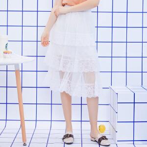 ZDORZI卓多姿2017夏装新款显瘦纯色蕾丝网纱蛋糕裙半身裙734E207