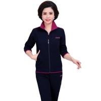 中老年运动服套装女款春秋季妈妈装南韩棉中年大码休闲卫衣两件套跑步服