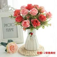 室内仿真玫瑰花假花盆栽客厅卧室绢花摆设插花束装饰品塑料花摆件
