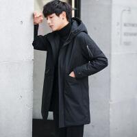 冬季男士韩版帅气中长款修身连帽轻薄羽绒服反季清仓外套男潮 黑色
