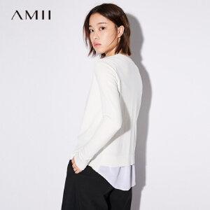 Amii[极简主义]拼雪纺毛衣外套秋装2018新款撞料拼接纯色外套