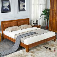 尚满 中式胡桃木卧室家具 边框实木系列单双人床 标准框架单床体15/18 (不含床头柜)