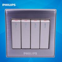 飞利浦墙壁开关面板86型金属系列Q8 214-2四位按键四开双路开关