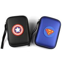 收纳包2.5寸移动硬盘包耳机数据线充电器卡通收纳包防震盒保护套 黑色 小米奇