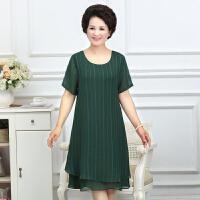 妈妈夏季大码连衣裙宽松纯色中老年女装40-50岁夏装短袖T恤薄裙子