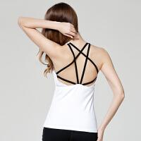 夏季性感镂空美背吊带健身房瑜伽服上衣速干运动背心女带胸垫上装
