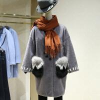 拼貂羊剪绒大衣女冬季新款 中长款一粒扣皮草外套