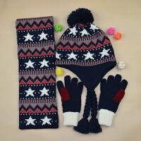 男童冬保暖毛线帽子围巾套装中大童儿童加绒护耳帽围巾手套三件套