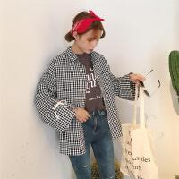 原宿polo衫开学季女上衣格子衬衫女长袖宽松韩版学生bf风百搭衬衣