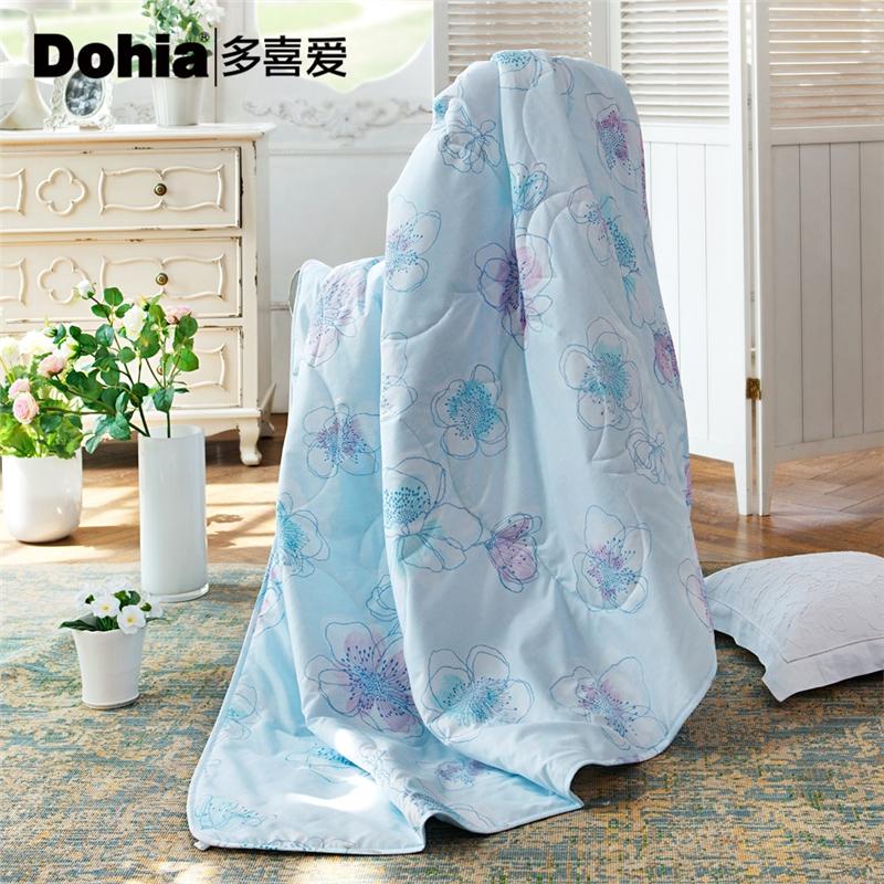 多喜爱家纺空调被可水洗花卉图案夏凉被舒适夏被冰清幽蓝夏薄被