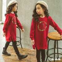 童装女童卫衣套头秋冬装加绒加厚长袖百搭绣花儿童连衣裙卫衣裙子