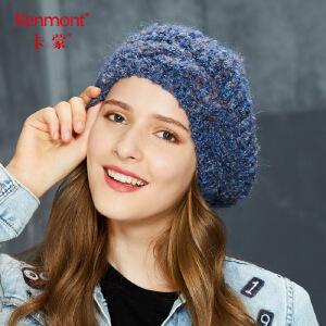 卡蒙马海毛针织贝雷帽女冬甜美可爱毛线帽韩版百搭学生英伦堆堆帽9192