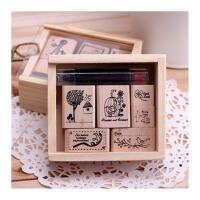 陆捌壹肆 韩国文具 可爱卡通抽拉盒装印章 DIY装饰印章 带印泥 1盒装