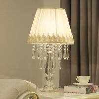 简约现代欧式水晶台灯创意温馨公主装饰结婚房卧室调光床头灯 式1 (米白)