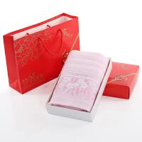 棉毛巾礼盒单条装天地盖盒配大号手提袋可放糖果等婚庆过寿回礼 73x33cm