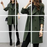 毛呢外套女秋新款韩版中长款茧型双排扣呢子大衣宽松显 军绿色
