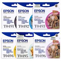 爱普生原装 EPSON T0491黑色墨盒 T0492青色 T0493洋红色 T0494黄色 T0495浅青色 T04