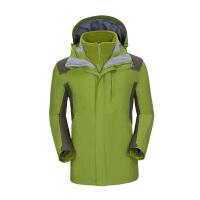 冲锋衣 男三合一保暖抓绒外套防风防雨两件套连帽户外 TAWC91177 芥绿 S