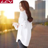 白衬衫女长袖2018新款春装加绒冬韩版宽松百搭中长款纯棉打底衬衣 3X
